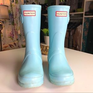 Hunter Short Rain Boots Matte Blue Size 36